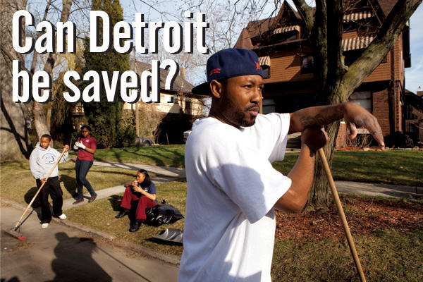 From The Christian Science Monitor: Tow truck driver Dewayne Hurling rakes leaves in front of his Detroit home – a six-bedroom mansion he bought for less than $200,000.
