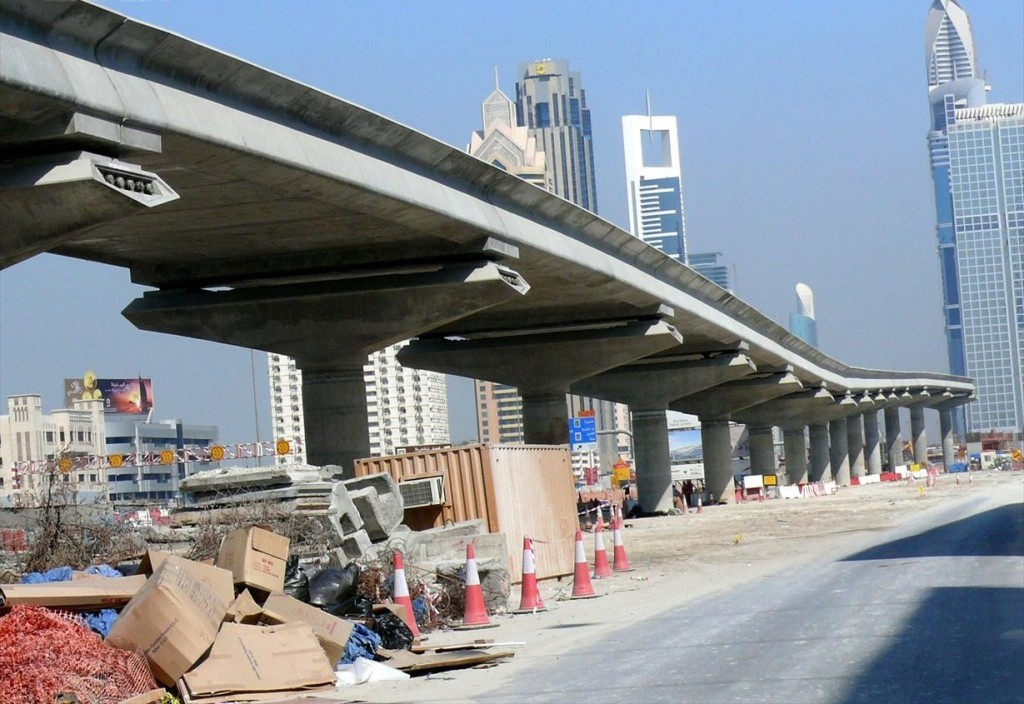 This is a photo of a Dubai Metro Red Line viaduct along Sheikh Zayed Road (close to the Burj Dubai) on 22 November 2007.