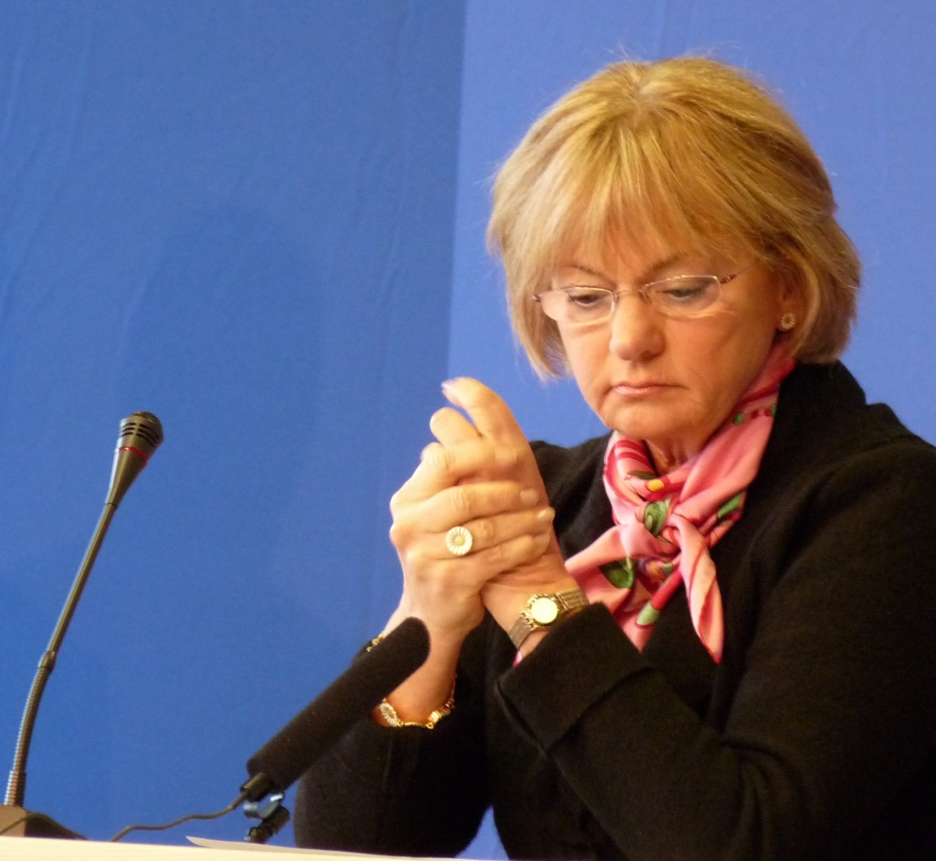 Chairman of the Danish People's Party, MP Pia Kjærsgaard. At a new year's conference held by the Danish Social Liberal Party in Nyborg, 2009.