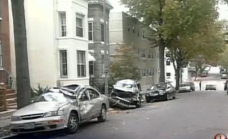 Drunk driver crashes into 6 parked cars leaving behind Beirut in his destruction.