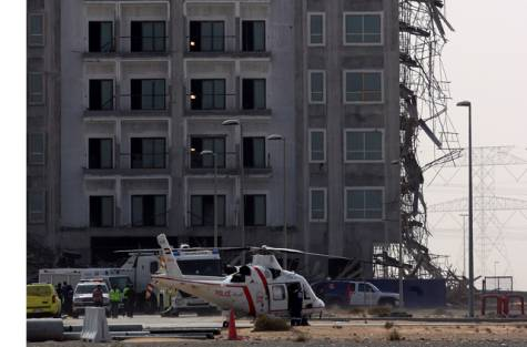 The building under construction on Dubai-Al Ain Road, where the scaffolding collapsed. A Dubai Police rescue helicopter was used to move accident victims to hospital.