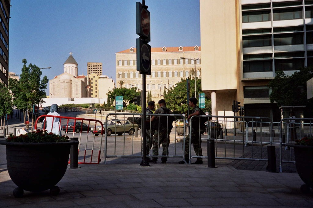 another surreptitious picture of lebanese soldiers in downtown beirut.
