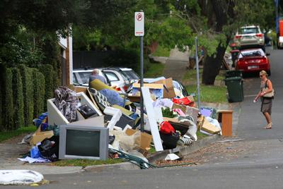 Sutherland Shire Council has shelved the twice-yearly council clean-up following scenes such as this one on Burraneer Bay Road earlier this year. Picture: James Alcock