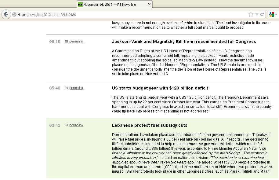 Russia Today News Line - Mistakes Lebanese for Jordanian