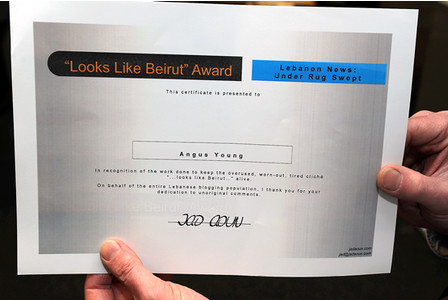 Angus Young and the Looks Like Beirut Certificate