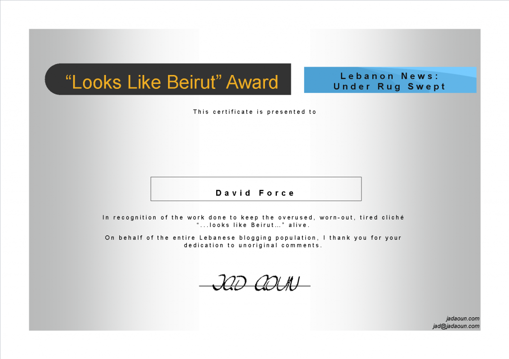 Looks Like Beirut Certificate for David Force