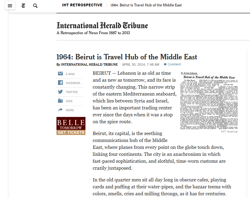 Screenshot of International Herald Tribune article 1964: Beirut is Travel Hub of the Middle East